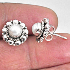 925 sterling silver 1.63cts natural white pearl stud earrings jewelry r59572