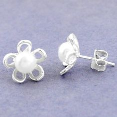 925 sterling silver natural white pearl stud flower earrings jewelry c25670