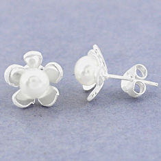 925 sterling silver natural white pearl stud flower earrings jewelry c25713