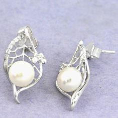 925 sterling silver 7.22cts natural white pearl topaz dangle earrings c25516