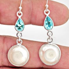925 sterling silver 12.96cts natural white pearl topaz dangle earrings r35984