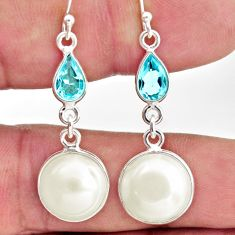 925 sterling silver 11.69cts natural white pearl topaz dangle earrings r35988