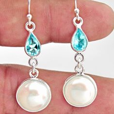 925 sterling silver 11.22cts natural white pearl topaz dangle earrings r35999