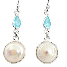 925 sterling silver 13.60cts natural white pearl topaz dangle earrings r36504