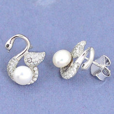 925 sterling silver natural white pearl topaz earrings jewelry c25535