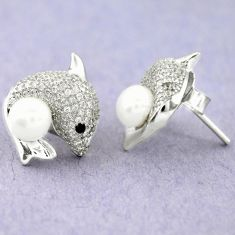 925 sterling silver 8.05cts natural white pearl topaz fish earrings c25618