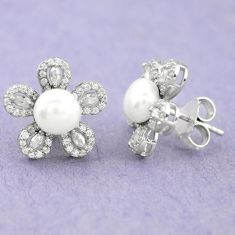 925 sterling silver 8.73cts natural white pearl topaz flower earrings c25681