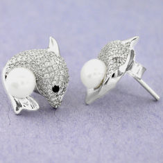 925 sterling silver 8.77cts natural white pearl topaz round fish earrings c25523