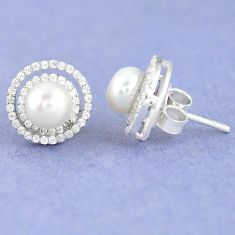 925 sterling silver natural white pearl topaz round stud earrings c25685