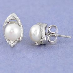 925 sterling silver natural white pearl topaz round stud earrings jewelry c25509