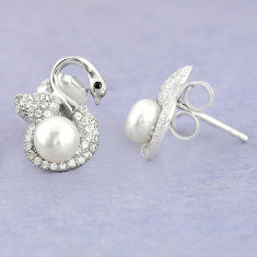 925 sterling silver natural white pearl topaz round stud earrings jewelry c25541