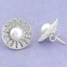 925 sterling silver natural white pearl topaz stud earrings jewelry c22432