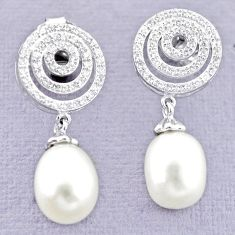925 sterling silver natural white pearl topaz stud earrings jewelry c25044