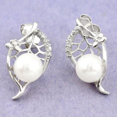 925 sterling silver natural white pearl topaz stud earrings jewelry c25445