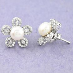 925 sterling silver natural white pearl topaz stud earrings jewelry c25450
