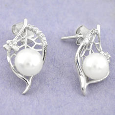 925 sterling silver natural white pearl topaz stud earrings jewelry c25453