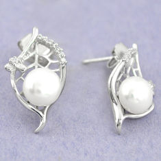 925 sterling silver natural white pearl topaz stud earrings jewelry c25454