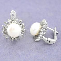 925 sterling silver natural white pearl topaz stud earrings jewelry c25458