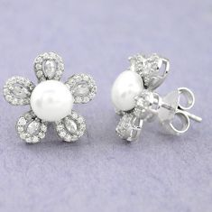 925 sterling silver natural white pearl topaz stud earrings jewelry c25459