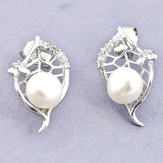 925 sterling silver natural white pearl topaz stud earrings jewelry c25508