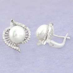 925 sterling silver natural white pearl topaz stud earrings jewelry c25510