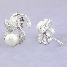 925 sterling silver natural white pearl topaz stud earrings jewelry c25545