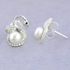 925 sterling silver natural white pearl topaz stud earrings jewelry c25547