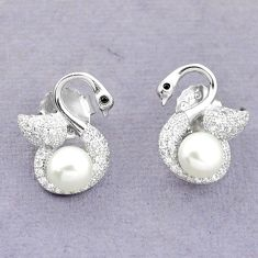 925 sterling silver natural white pearl topaz stud earrings jewelry c25550
