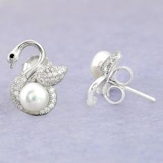 925 sterling silver natural white pearl topaz stud earrings jewelry c25554