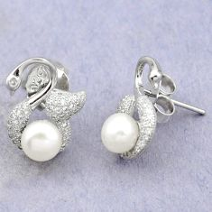 925 sterling silver natural white pearl topaz stud earrings jewelry c25559