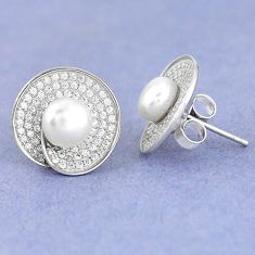925 sterling silver natural white pearl topaz stud earrings jewelry c25632