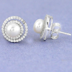925 sterling silver natural white pearl topaz stud earrings jewelry c25692