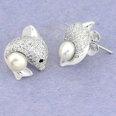 925 sterling silver natural white pearl topaz stud fish earrings jewelry c25539