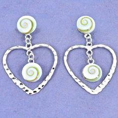 925 sterling silver natural white shiva eye shell dangle heart earrings c23013