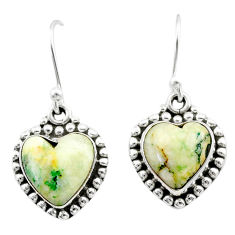925 sterling silver 8.53cts natural white tree agate dangle earrings t41524