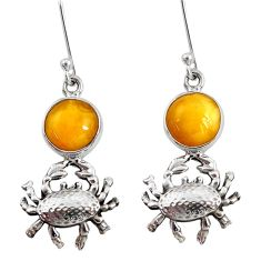 Clearance Sale- 925 sterling silver 8.25cts natural yellow amber bone crab earrings d40519