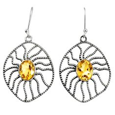 925 sterling silver 6.48cts natural yellow citrine dangle earrings d40114