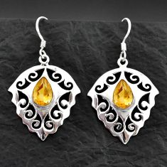 Clearance Sale- 925 sterling silver 5.27cts natural yellow citrine dangle earrings d40604