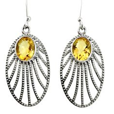 925 sterling silver 6.31cts natural yellow citrine dangle earrings d45738