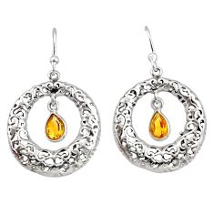 925 sterling silver 2.01cts natural yellow citrine dangle earrings r33031