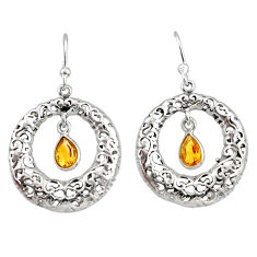 925 sterling silver 1.94cts natural yellow citrine dangle earrings r33035