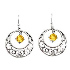 925 sterling silver 2.51cts natural yellow citrine dangle earrings r36788