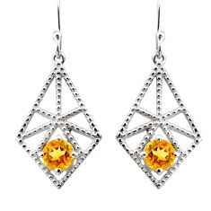 925 sterling silver 2.46cts natural yellow citrine dangle earrings r36864