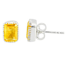 925 sterling silver 2.87cts natural yellow citrine stud earrings jewelry r77084