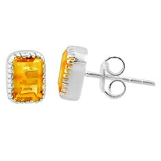 925 sterling silver 2.50cts natural yellow citrine stud earrings jewelry t22251