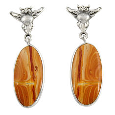 Clearance Sale- 925 sterling silver 15.93cts natural yellow snakeskin jasper owl earrings d39580