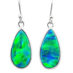 925 sterling silver 5.10cts northern lights aurora opal (lab) earrings t23487