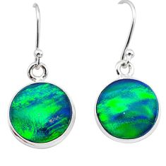 925 silver 5.45cts northern lights aurora opal (lab) dangle earrings t28470
