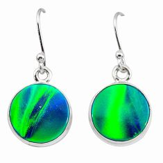 925 silver 5.89cts northern lights aurora opal (lab) dangle earrings t28487