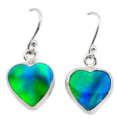 925 silver 5.53cts northern lights aurora opal (lab) dangle earrings t28490